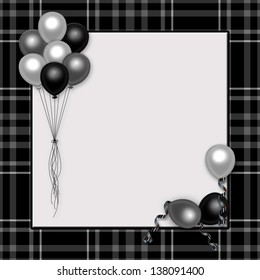 "Black plaid with gray/silver balloons background ideal for celebrations especially ""over the hill"""