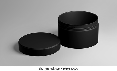 Black Plastic Cosmetic Jar Mockup, Dark beauty make-up Container 3D Rendering isolated on light background