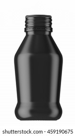 Black plastic or glass small bottle isolated on white background. 3D Mock up for your design. Oil, shampoo, conditioner, shower gel, cosmetics, beverage, lemonade, soda, perfume.