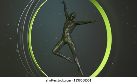 Black plastic human body inside abstract green circle. Action jump and dance ballet pose. 3D rendering illustration