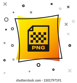 Black PNG file document icon. Download png button icon isolated on white background. PNG file symbol. Yellow square button