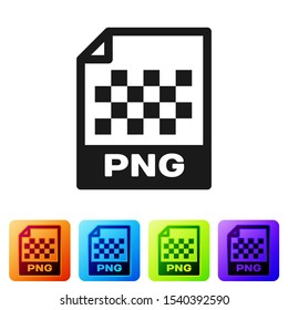 Black PNG file document icon. Download png button icon isolated on white background. PNG file symbol. Set icon in color square buttons