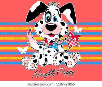 Black pointed sweet dog with around white butterflies, stars, blue and yellow lines on pink background. JPEG format.