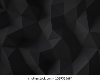 Black poly triangular abstract background, graphite color 3D rendering.