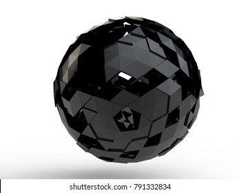 Black polygon sphere, with triangular elements - polygons reflect light. Abstraction on a white background. 3D rendering