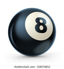Black pool game ball with number 8. 3D illustration isolated on white background