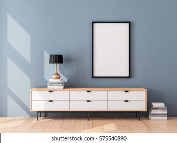 Black Poster Frame Mockup hanging on the blue wall, modern bureau with Table lamp and books. 3d rendering