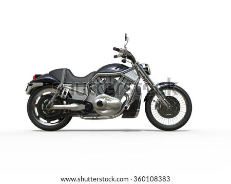 Black Powerful Motorcycle Side