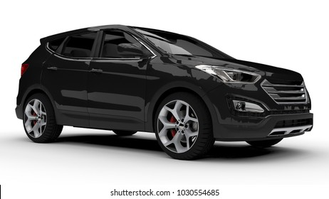 Black premium city crossover on a white background. 3d rendering.