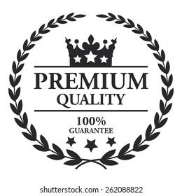 Black Premium Quality 100% Guarantee Wheat Laurel Wreath, Ribbon, Label, Sticker or Icon Isolated on White Background