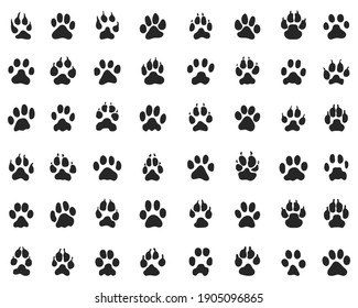 Black print of paw of dogs and cats  on a white background