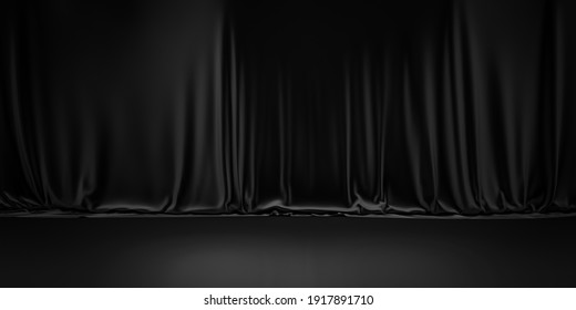 Black product background room on dark curtain scene display with luxury fabric backdrops. 3D rendering.