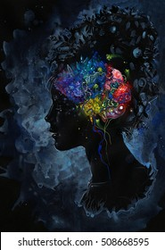 Black profile of a girl with a colorful brain on dark background. Conceptual illustration of a beautifully minded person.