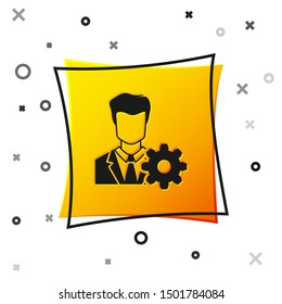Black Profile settings icon isolated on white background. User setting icon. Profile Avatar with cogwheel sign. Account icon. Male person silhouette. Yellow square button