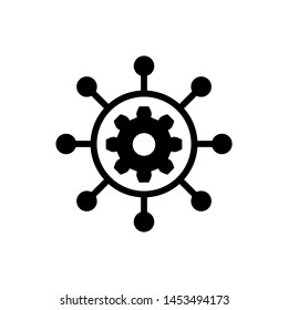 Black Project management icon isolated on white background. Hub and spokes and gear solid icon