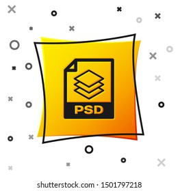Black PSD file document icon. Download psd button icon isolated on white background. PSD file symbol. Yellow square button
