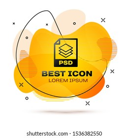 Black PSD file document icon. Download psd button icon isolated on white background. PSD file symbol. Fluid color banner