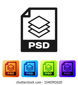 Black PSD file document icon. Download psd button icon isolated on white background. PSD file symbol. Set icon in color square buttons