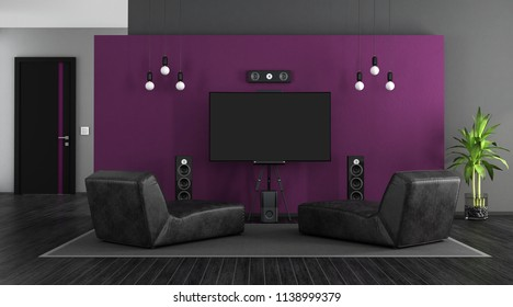 Black and purple with chaise lounges and home cinema system - 3d rendering