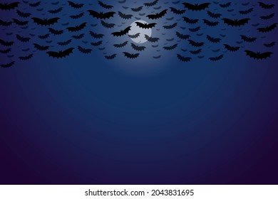 a black purple gradiend sky and bright moon illustration graphic with lot of bats on halloween holiday