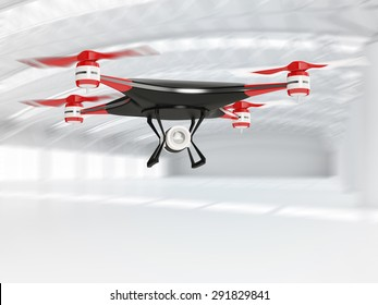 black quadcopter drone with HD camera in flight in interior warehouse
