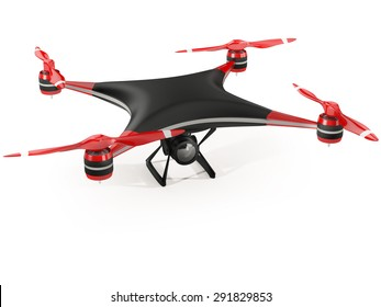 black quadcopter drone with HD camera on white background