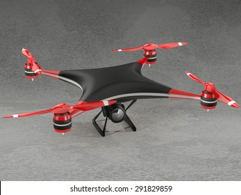 black quadcopter drone with HD camera on gray background