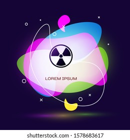Black Radioactive icon isolated on dark blue background. Radioactive toxic symbol. Radiation Hazard sign. Abstract banner with liquid shapes.