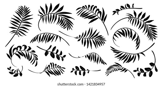 Black raster tropical leaves hand drawn silhouettes isolated on white background.
