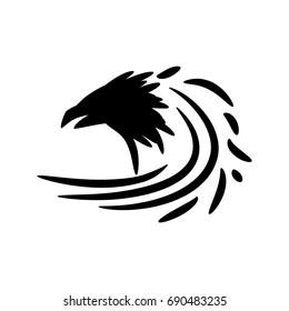 Black raven icon sign logo. Raster illustration.