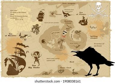 black raven and vintage pirate treasure island map