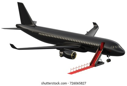 Black reactive private jet. White private-jet and open ladder, red carpet at the airpor. 3d rendering isometric illustration. Business airlines.