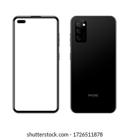 Black realistic modern smartphone, front and back view on isolated background