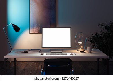 Black realistic pc with big blank white monitor, keyboard and computer mouse at desk. working space at office. 3d rendering.