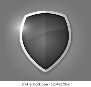 Black realistic shining shield icon. Defense, safety, privacy, security, safeguard or antivirus concept