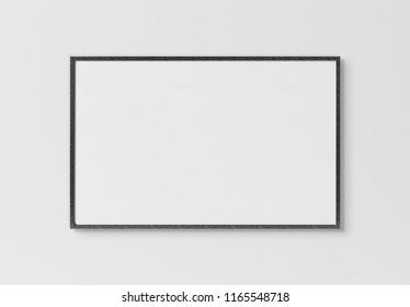Black rectangular horizontal frame hanging on a white textured wall mockup 3D rendering