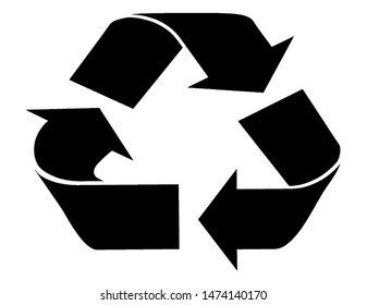 Black recycle symbol. Three black arrows circulate. Management of waste materials that are garbage and pass through the transformation process, especially the melting process. Re-create new materials.