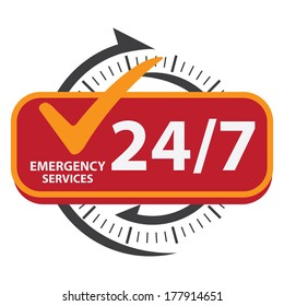 Black and Red 24/7 Emergency Services Icon, Badge, Label or Sticker for Customer Service, Support or CRM Concept Isolated on White Background