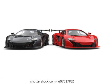 Black and red awesome super cars side by side - 3D Render