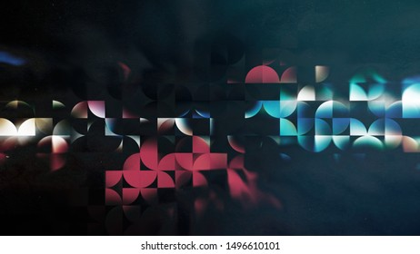 Black Red and Blue Abstract Quarter Circles Background Image