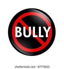 A black and red  button with word Bully isolated on a white background, No Bully button