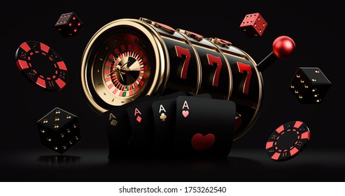 Black Red And Golden Slot Machine With Roulette Wheel Inside, Chips,  Dices And Four Aces, Isolated On The Black Background. Casino Modern Concept - 3D Illustration