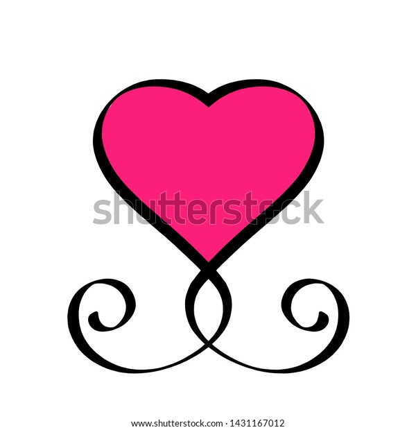Black and Red Heart Love Hand drawn sign. Romantic vintage calligraphy raster illustration. Concepn icon symbol for t shirt, greeting card, poster wedding. Design flat element Valentine day.