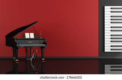 Black and red music room with grand piano - rendering
