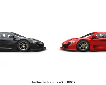 Black and red super cars facing each other - cut shot - 3D Render