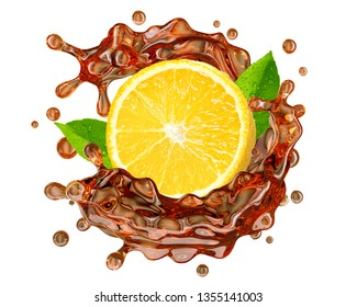 Black or red tea splash swirl with lemon and tea droplets. Hot or cold ice herb tea splashing, isolated. Liquid healthy drink label, sticker, badge or banner ad design element. Clipping path. 3D