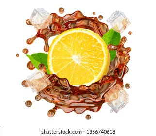 Black or red tea splash swirl with lemon, ice, and tea droplets. Hot or cold ice herb tea splashing, isolated. Liquid healthy drink label, sticker, badge or banner ad design element. Clipping path. 3D