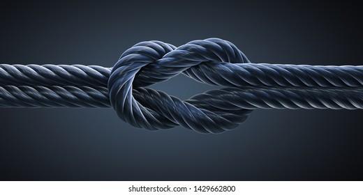Black reef knot or square knot - 3D illustration