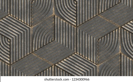 Black relief hexagons with golden scuffs. High quality seamless realistic texture.Black relief hexagons with golden scuffs. High quality seamless realistic texture.