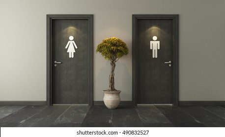 black restroom doors with wall 3D design and rendering for your project by Sedat SEVEN